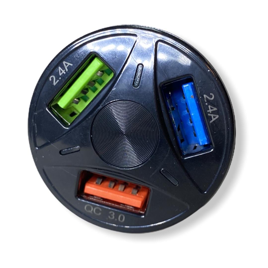 Фото Зарядное устройство от прикуривателя 12 - 24 вольта на 3 USB QC 3.0 Quick Charge