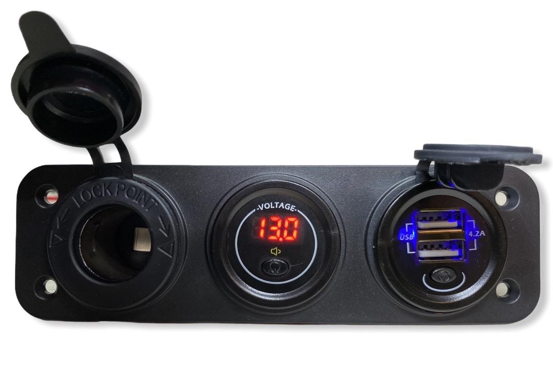 Фото Врезные в панель прикуриватель + вольтметр + 2 USB по 2.1А автопанель 12В-24В